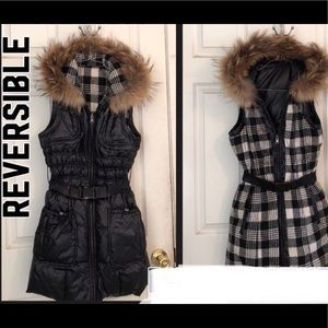 Perfect Vest❤️puffer down.small.hooded.long.fur